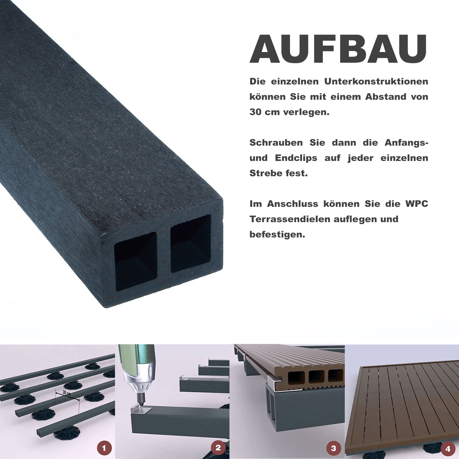 aufbau wpc terrasse gallery of home deluxe komplettset inkl m with aufbau wpc terrasse simple. Black Bedroom Furniture Sets. Home Design Ideas